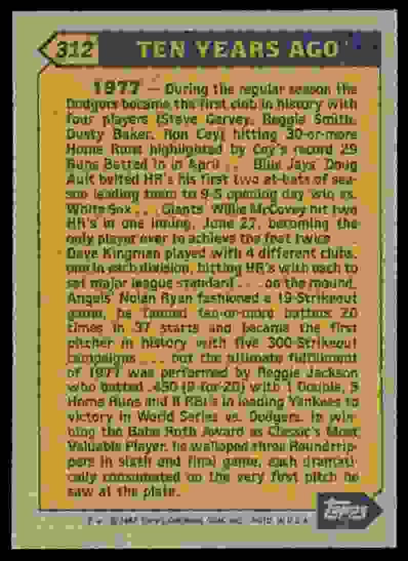1987 Topps Reggie Jackson #312 card back image