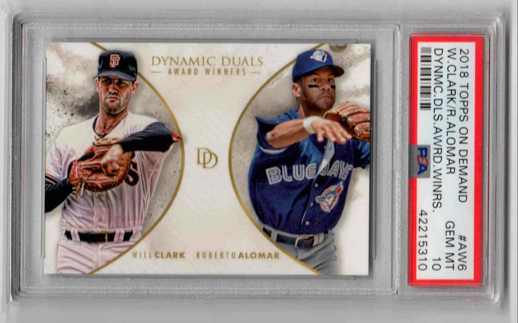2018 Topps On-Demand Dynamic Duals Award Winners Will Clark / Roberto Alomar #AW6 card front image