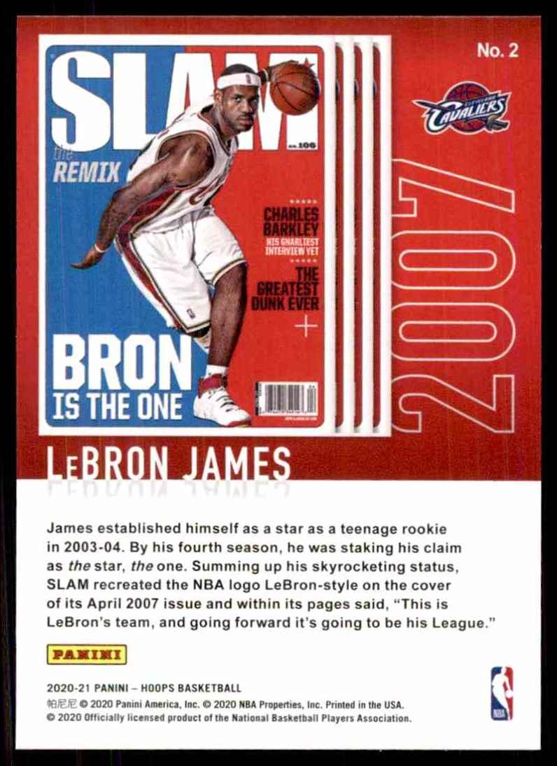 2020-21 Hoops Slam LeBron James #2 card back image