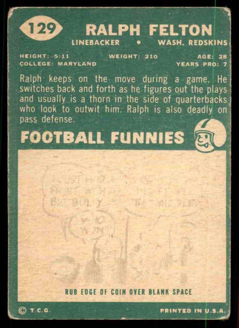1960 Topps Ralph Felton RC #129 card back image