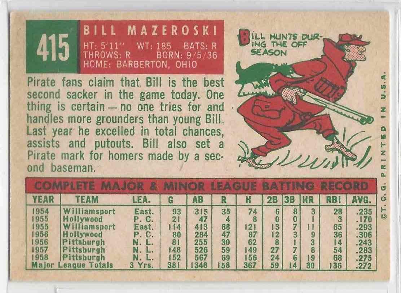 1959 Topps Bill Mazeroski #415 card back image