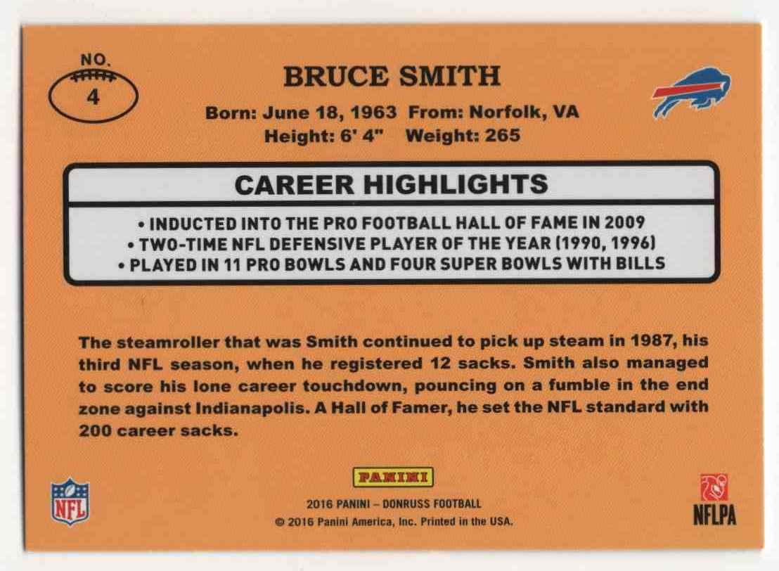 af27914a36 Real card back image 2016 Donruss 1987 Classics Bruce Smith  4 card back  image
