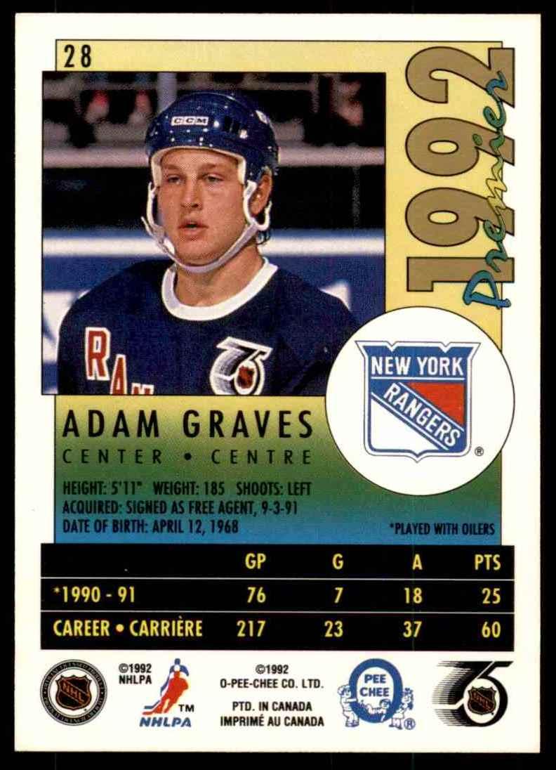1991-92 OPC Premier Adam Graves #28 card back image