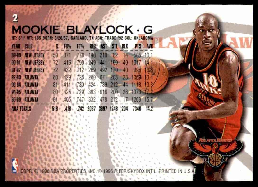 1996-97 Fleer Mookie Blaylock #2 card back image