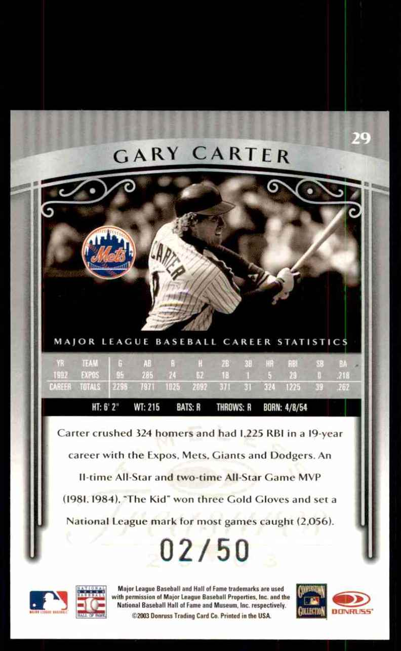 2003 Timeless Treasures Silver Gary Carter #29 card back image