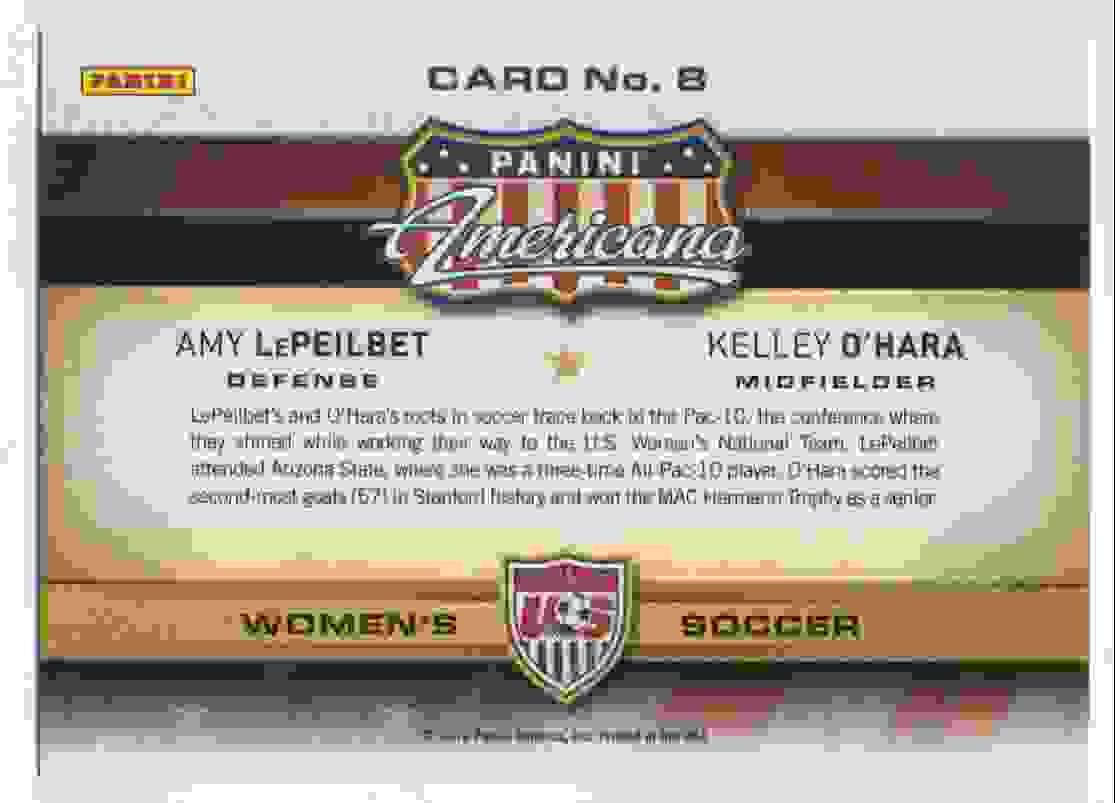 2012 Panini Americana Lepeilbet & O'Hara #8 card back image