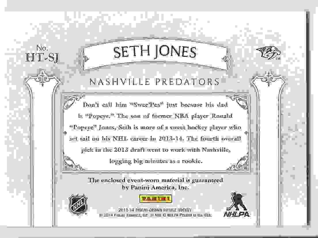 2013-14 Crown Royale Heirs To The Throne Materials Seth Jones #HT-SJ card back image
