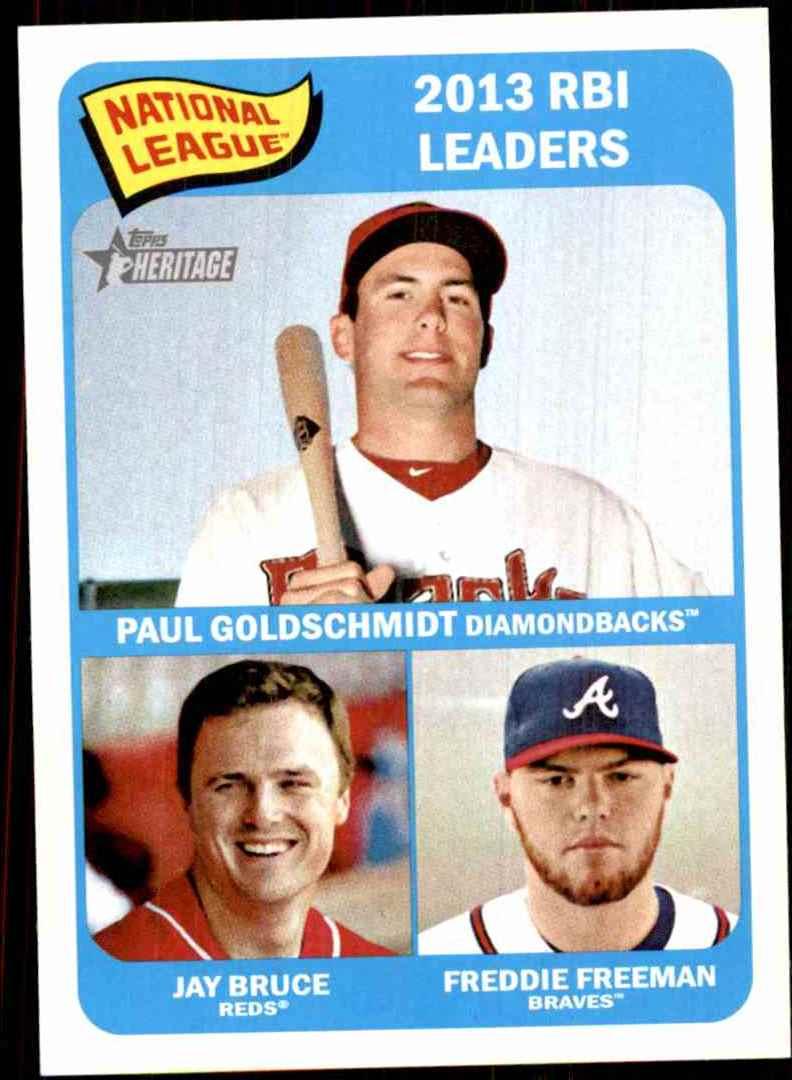 2014 Topps Heritage Freddie Freeman/Jay Bruce/Paul Goldschmidt #6 card front image