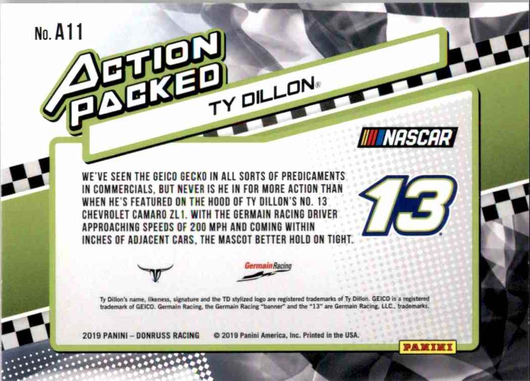 2019 Donruss Action Ty Dillon #A11 card back image