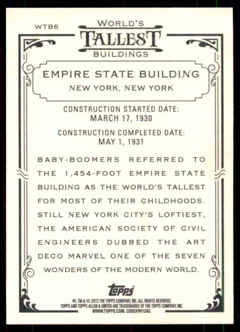 2012 Topps Allen And Ginter World's Tallest Buildings Empire State Building #WTB6 card back image