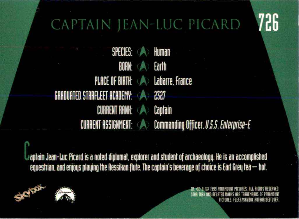 1994 Star Trek The Next Generation Episode Collection Captain Jean-Luc Picard #726 card back image