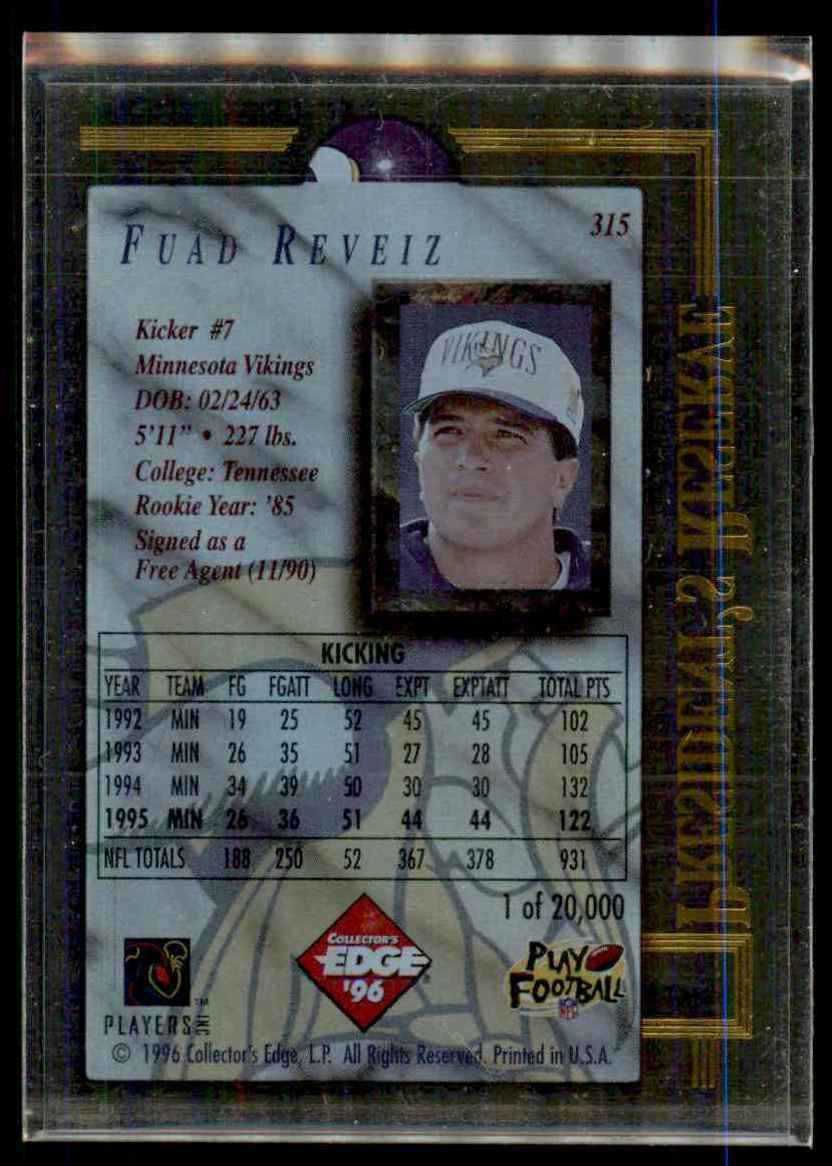 1996 Ce President's Reserve Fuad Reveiz #315 card back image