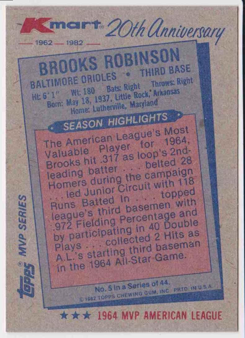 1982 Topps Kmart MVP Series Brooks Robinson #5 card back image