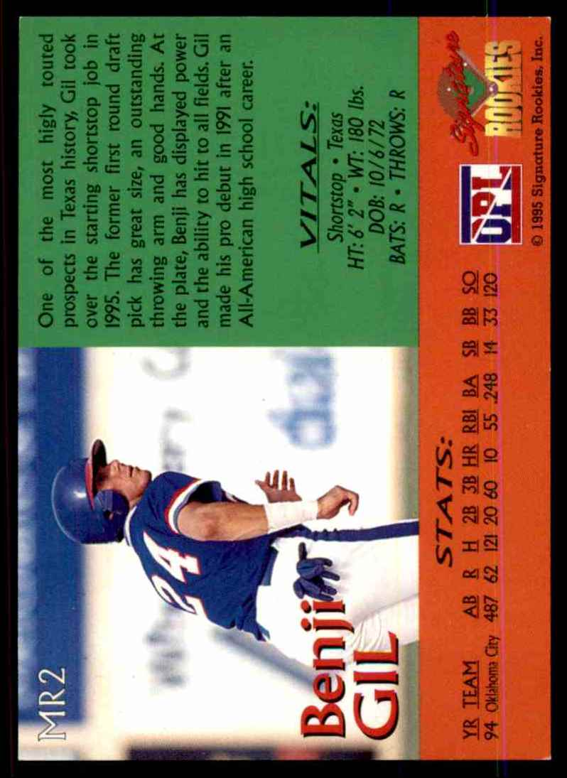 1995 Signature Rookies Major Rookies Benji Gil #MR2 card back image