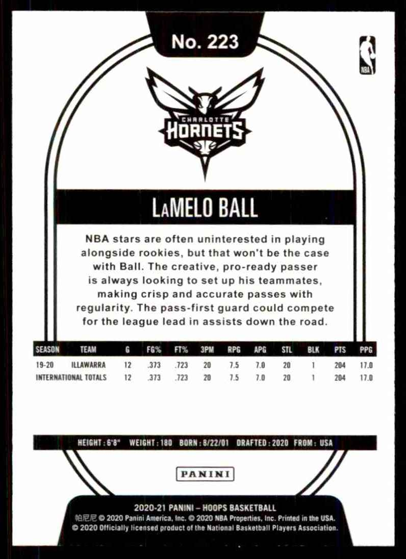2020-21 Hoops LaMelo Ball RC #223 card back image