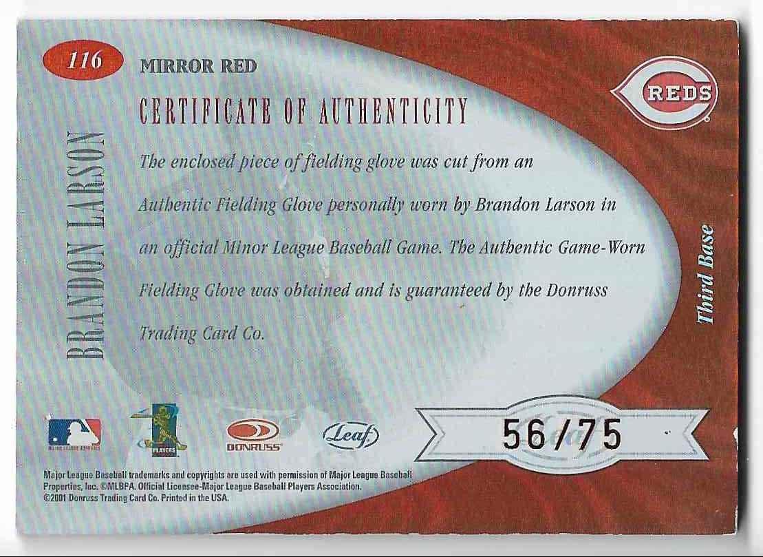 2001 Leaf Certified Materials Brandon Larson #116 card back image