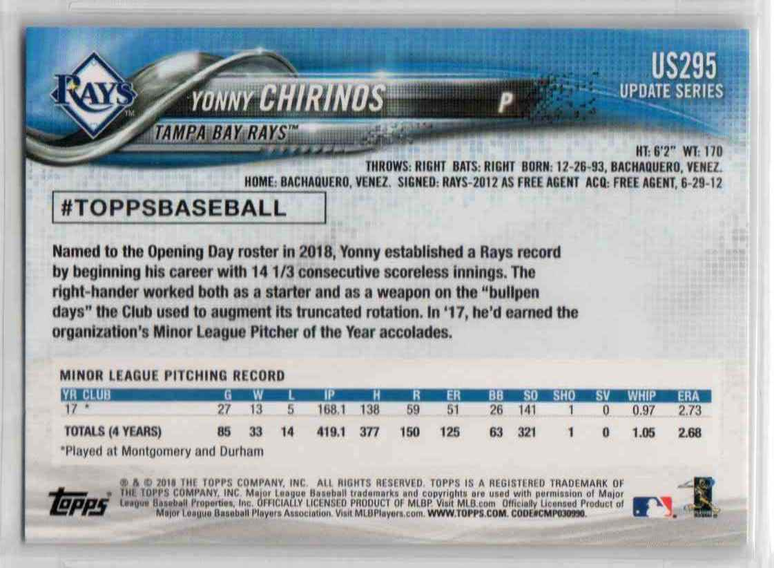 2018 Topps Update Yonny Chirinos #US295 card back image