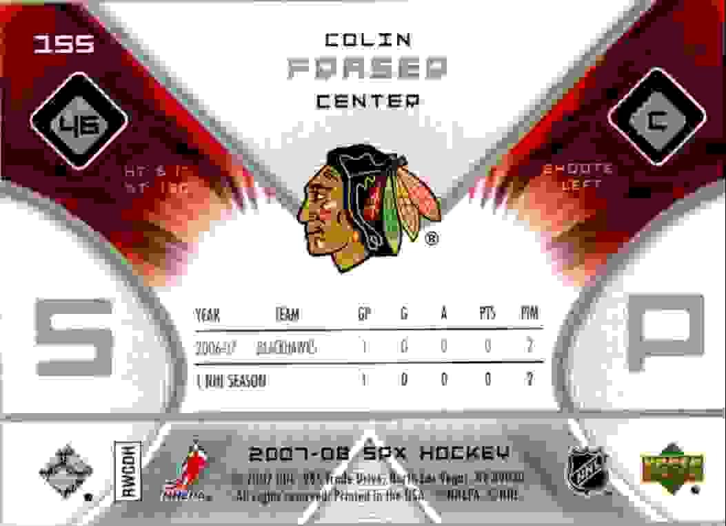 2007-08 Upper Deck SPx Colin Fraser #155 card back image