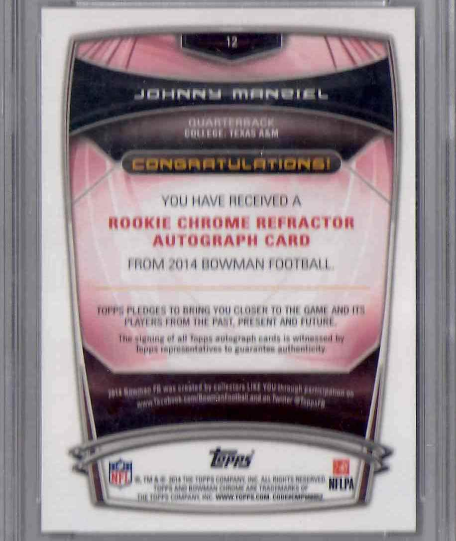 2014 Bowman Chrome Rookie Autographs Orange Refractors Johnny Manziel #12 card back image
