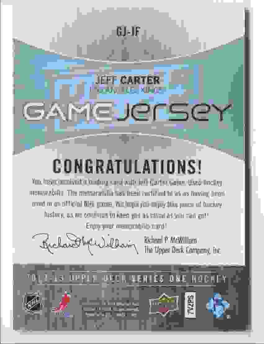 2012-13 Upper Deck Game Jersey Jeff Carter #GJ-JF card back image