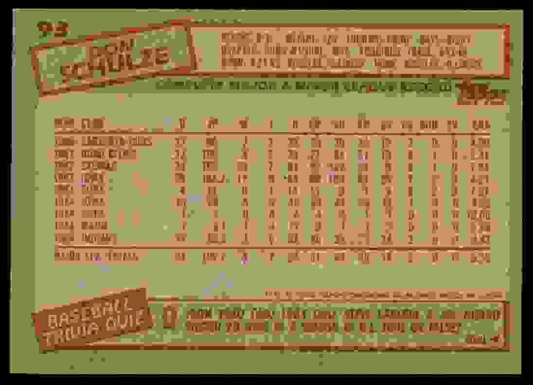 1985 Topps Don Schulze #93 card back image