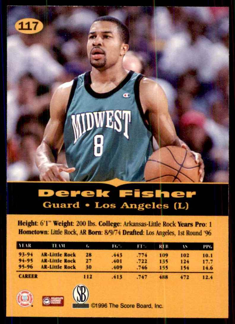 1996-97 Score Board All Sport Ppf Gold Derek Fisher #117 card back image
