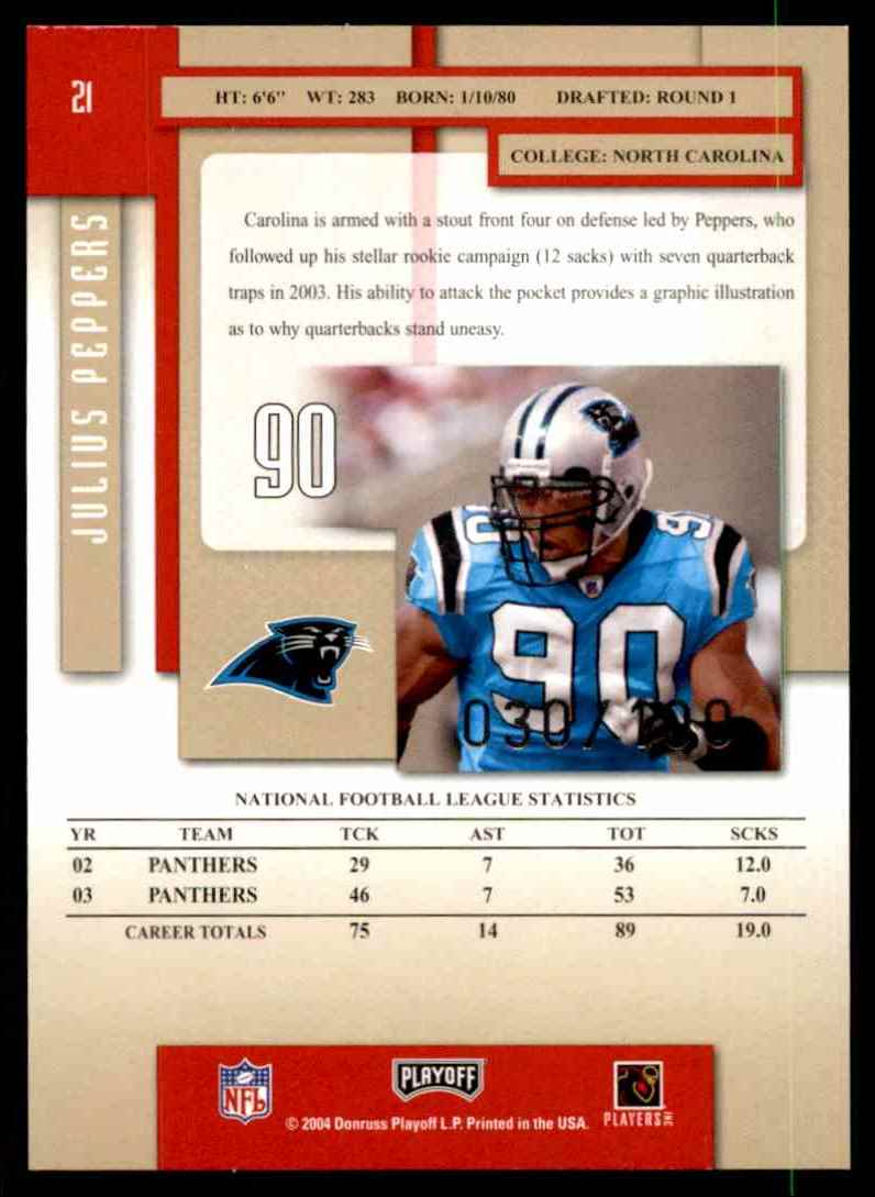 2004 Playoff Prestige Xtra Points Red Julius Peppers #21 card back image