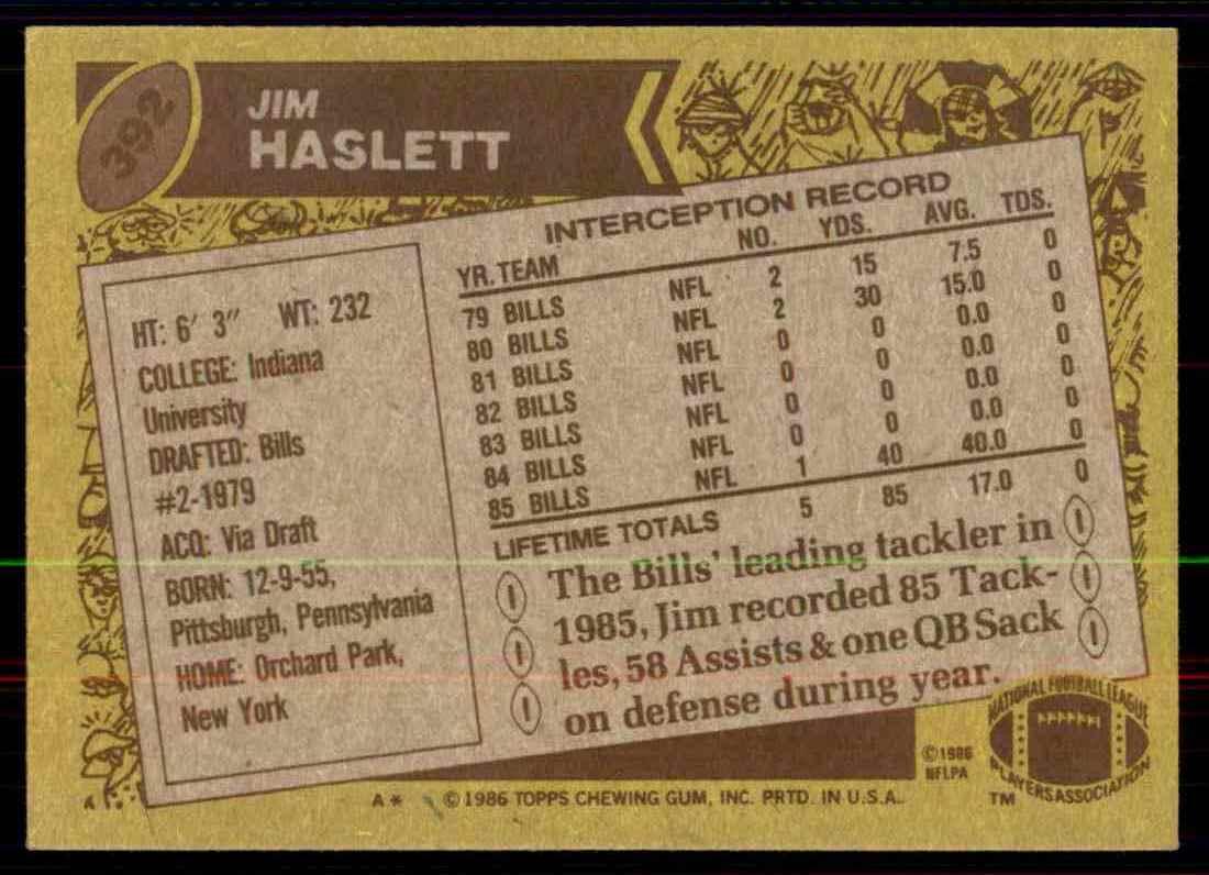 1986 Topps Jim Haslett #392 card back image