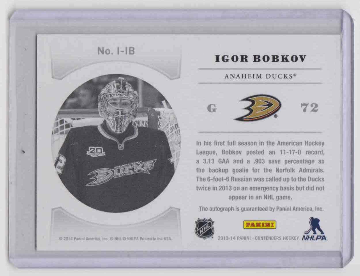2013-14 Panini Contenders NHL Ink Igor Bobkov #I-IB card back image