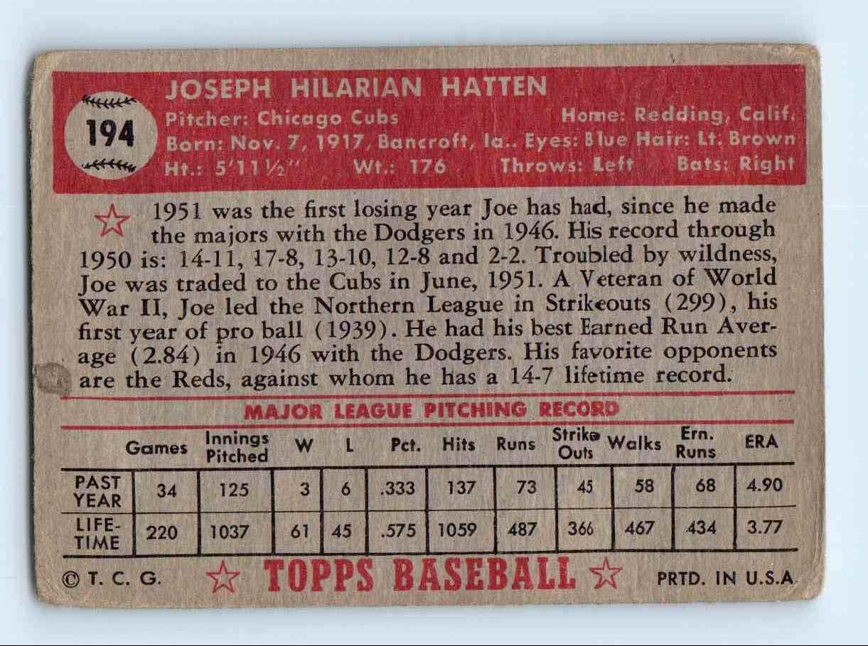 1952 Topps Joe Hatten #194 card back image
