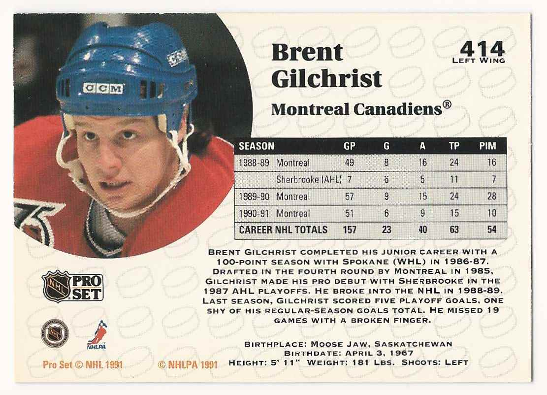 1991-92 Pro Set Brent Gilchrist #414 card back image