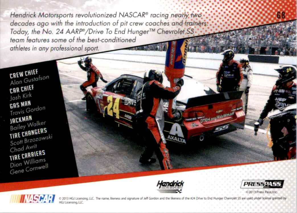 2014 Press Pass Jeff Gordon's Car Gc #68 card back image