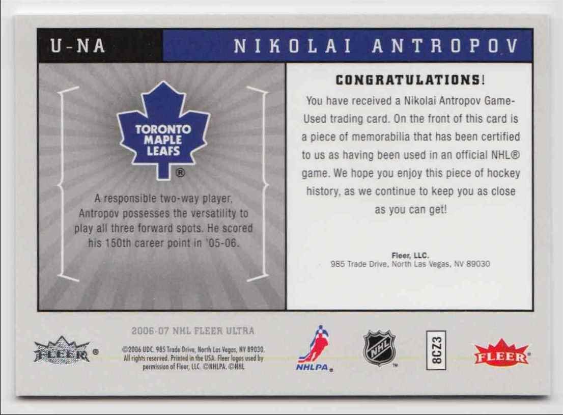 2006-07 Ultra Uniformity Jersey Nikolai Antropov #U-NA card back image