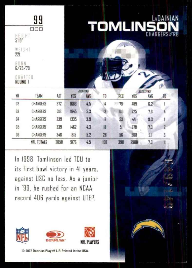 2007 Leaf Rookies & Stars Longevity Sapphire LaDainian Tomlinson #99 card back image