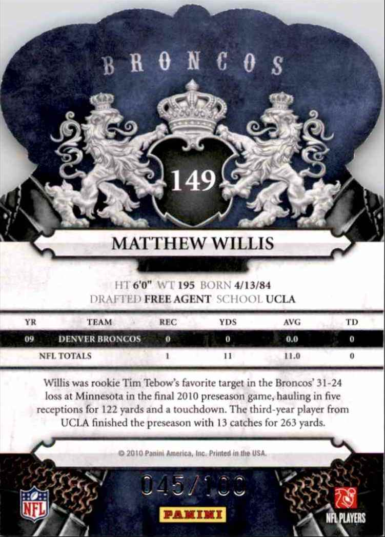 2010 Crown Royale Blue Matt Willis #149 card back image