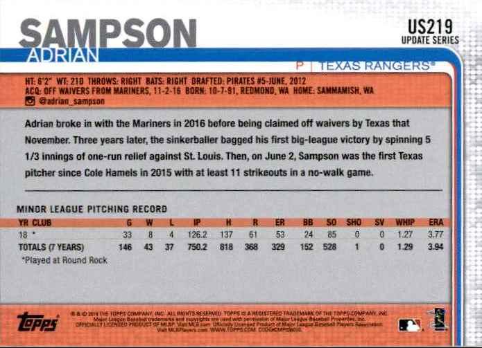 2019 Topps Update Adrian Sampson #US219 card back image