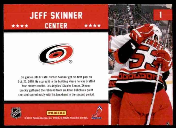 2011-12 Score First Goal Jeff Skinner #1 card back image