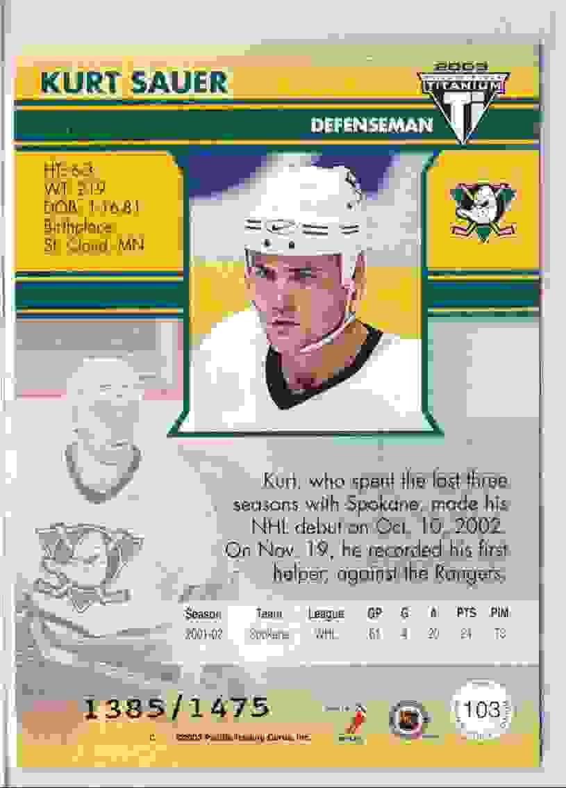 2002-03 Panini Titanium Private Stock Kurt Sauer #103 card back image
