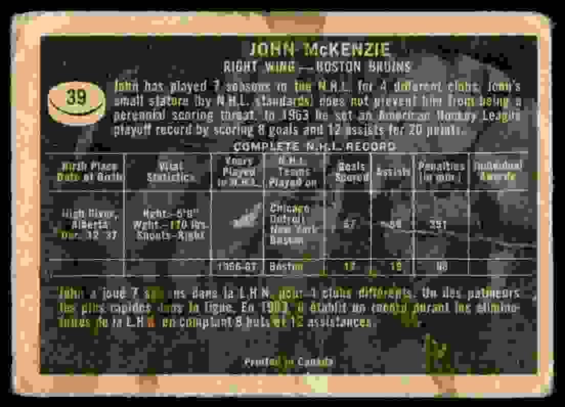 1967-68 Topps John McKenzie #39 card back image