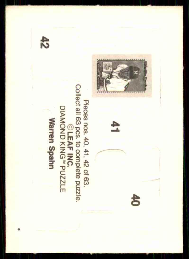 1989 Donruss Warren Spahn Puzzle Spahn Puzzle 40-42 #40 card back image