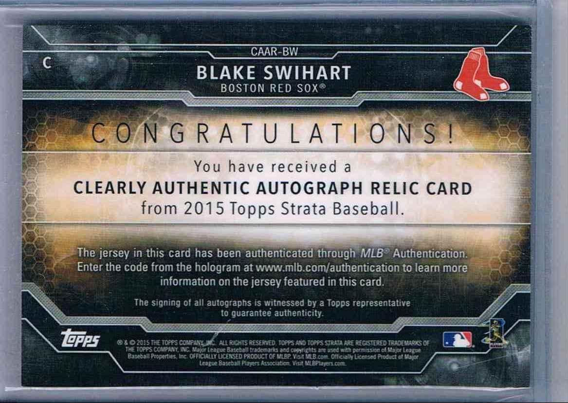2015 Topps Strata Blake Swihart #CAAR-BW card back image