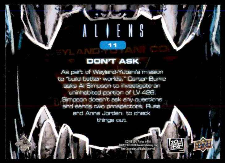 2018 Aliens Don't Ask #11 card back image