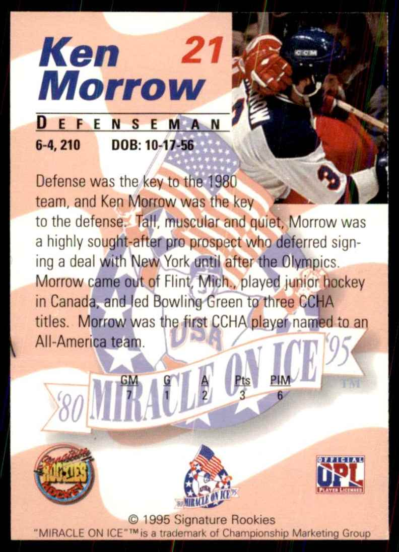 1995-96 Signature Rookies Miracle On Ice Ken Morrow #21 card back image