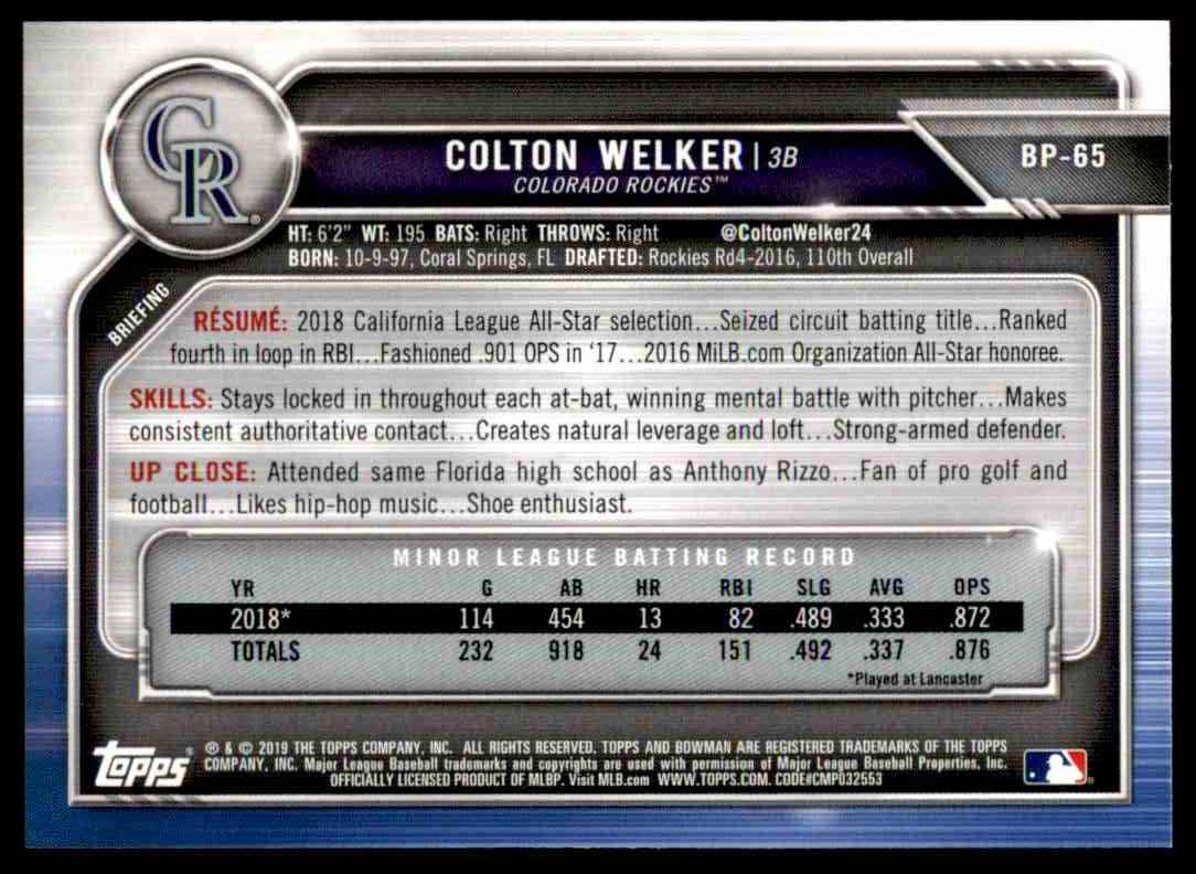 2019 Bowman Colton Welker #BCP-65 card back image