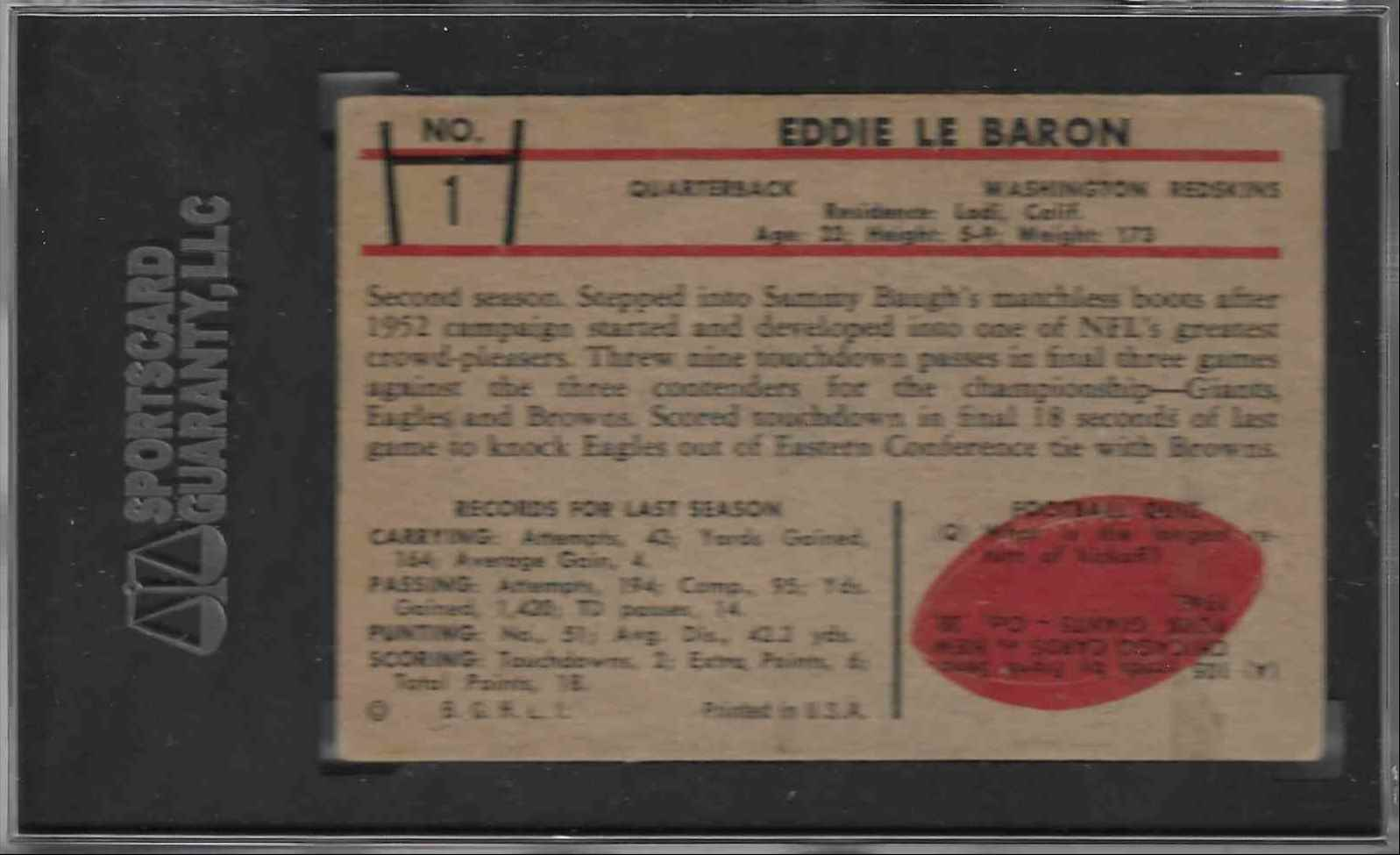 1952 Bowman Eddie Le Baron #1 card back image