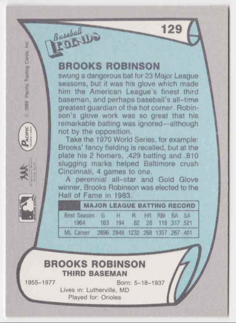 1989 Pacific Baseball Legends Brooks Robinson #129 card back image