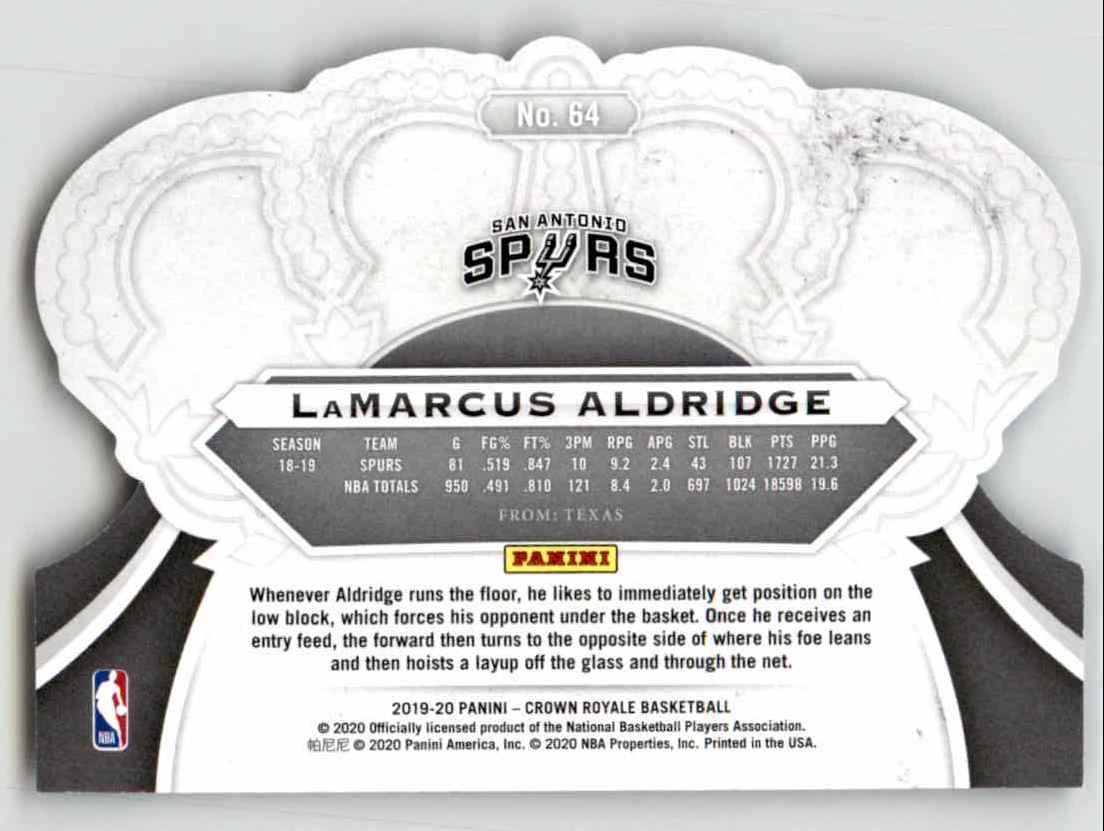 2019-20 Crown Royale Lamarcus Aldridge #64 card back image
