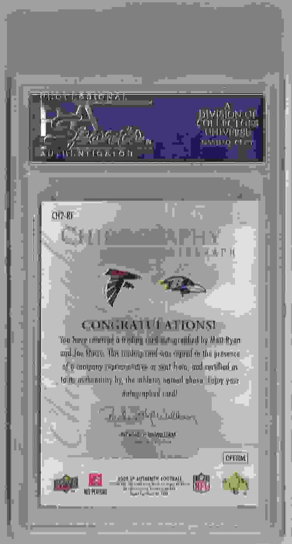 2008 SP Authentic Chirography Dual Matt Ryan/Joe Flacco #CH2-RF card back image