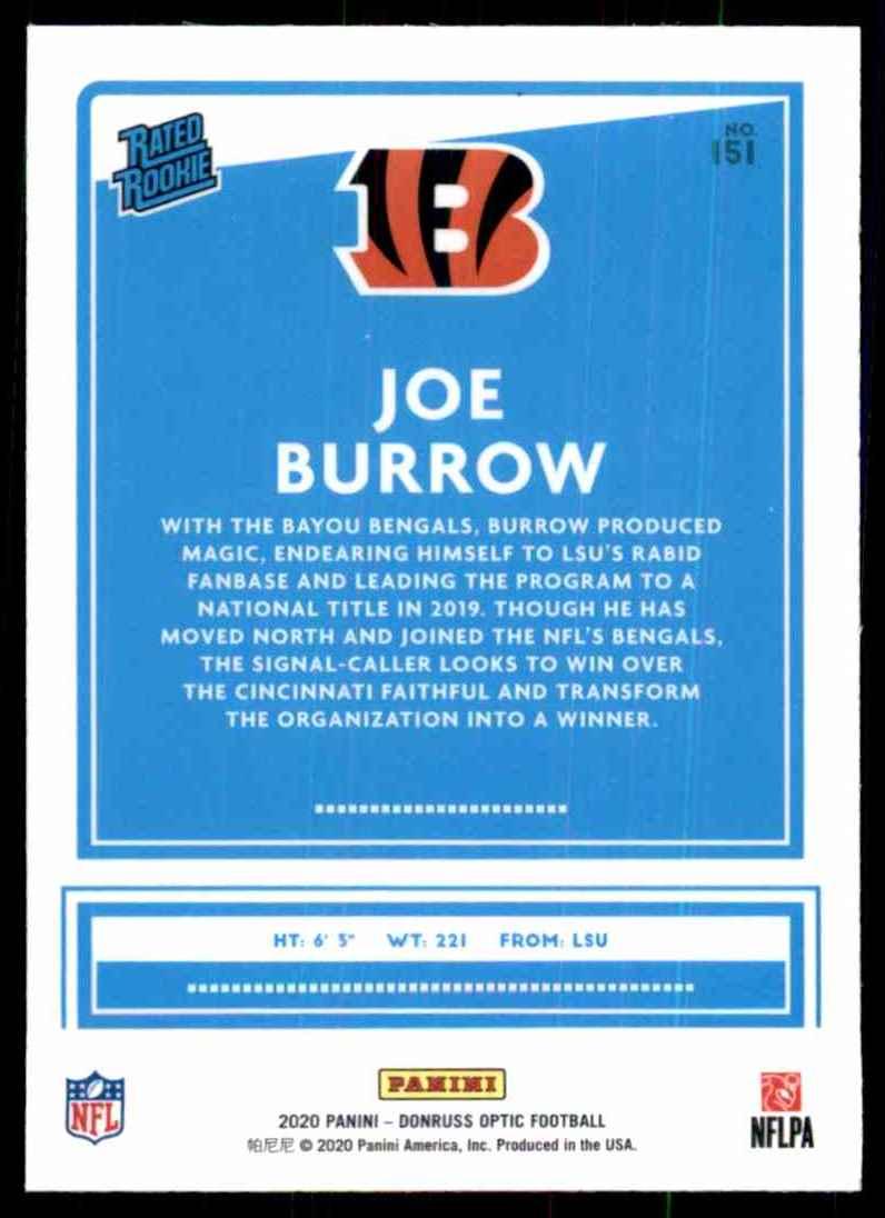 2020 Donruss Optic Joe Burrow Rr RC #151 card back image