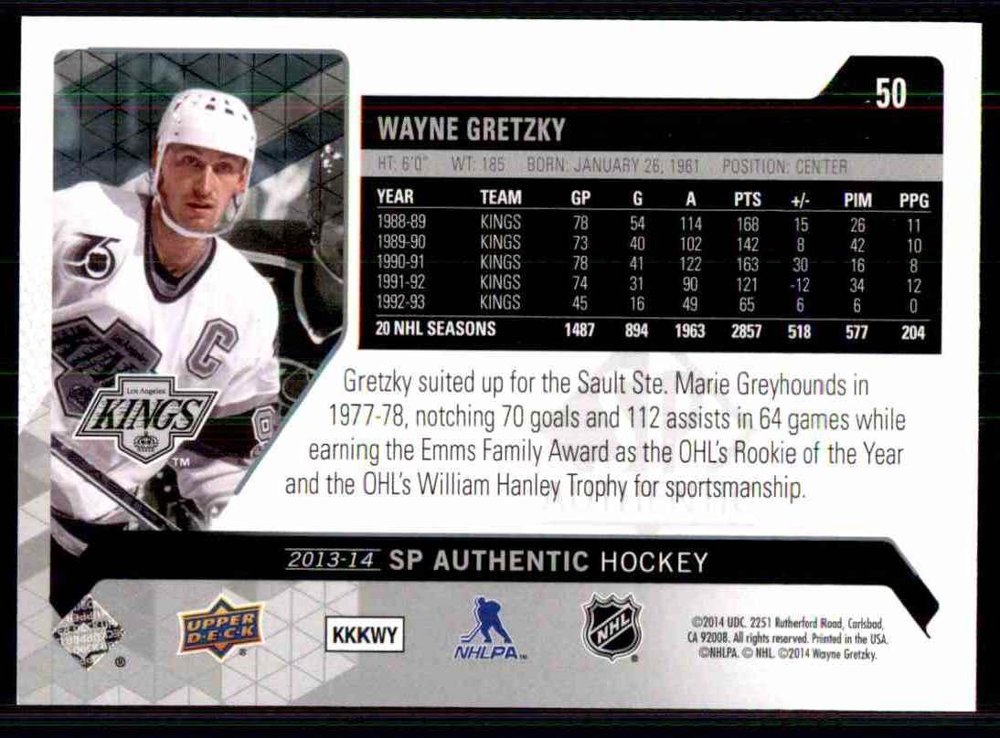 2013-14 SP Authentic Wayne Gretzky #50 card back image